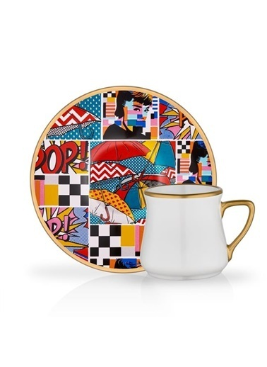 Glore Glore Popart 6'Lı Türk Kahve Seti Renkli